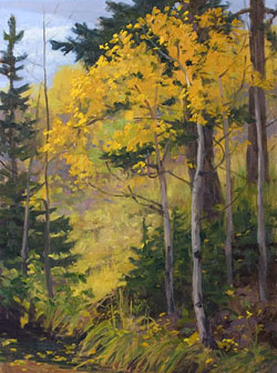 "Creekside Aspens"" by Dan D'Amico, a plein air landscape painting"