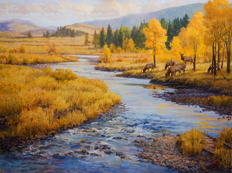 """Bend in the River"" - Elk, a landscape wildlife painting by Dan D'Amico depicting an elk herd grazing alongside a river in the Rocky Mountains in autumn."