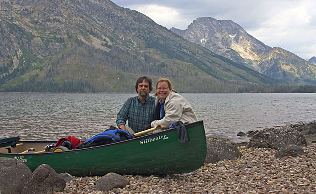 Artist Dan DAmico with his wife Susan at Jenny Lake, Grand Teton National Park.