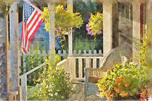 """Memorial Day"" by Dan D'Amico, an Americana painting depicting an empty chair on the front porch of a house, with an American flag and flower baskets."