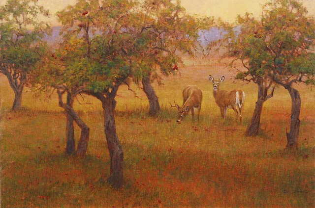 """Evening, Old Orchard"" - Whitetail Deer by Dan D'Amico, a landscape wildlife painting."