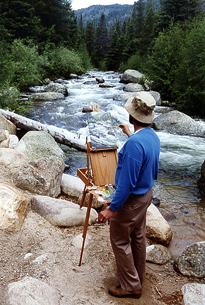 Artist Dan DAmico painting in Rocky Mountain National Park.