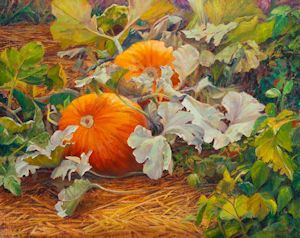 """The Pumpkin Patch"" an garden oil painting by Dan D'Amico"