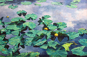 """Storm Clouds and Lilypads"" by Dan D'Amico, a landscape painting of a mountain lake."