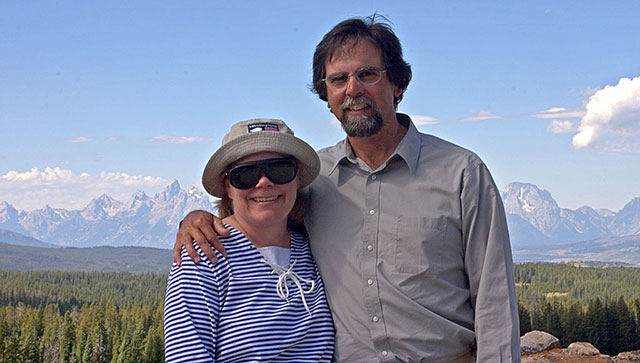 Artist Dan DAmico with his wife Susan in the Tetons.