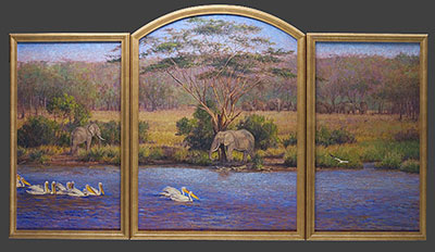 """Sweetwater"" by Dan D'Amico, a wildlife landscape triptych painting of African wildlife"