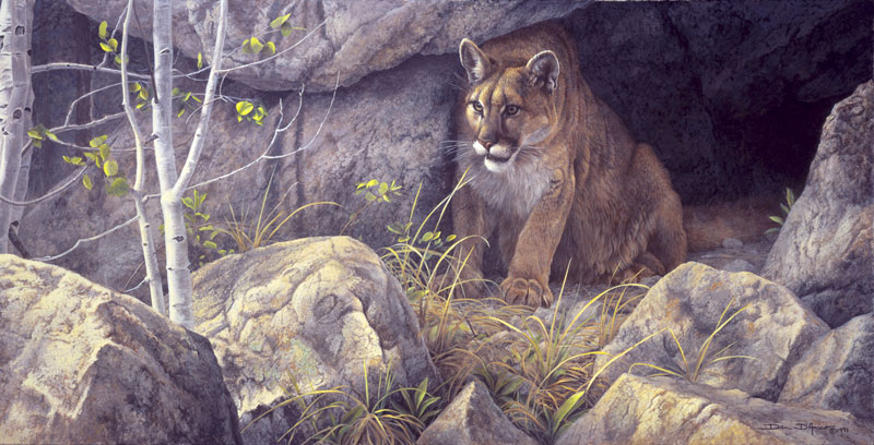 """The Waiting Game"" by Dan D'Amico, a wildlife painting of a cougar."