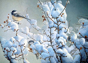 """Chickadees in Currant"" by Dan D'Amico, a wildlife painting"