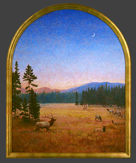 """Dusk"" by Dan D'Amico, a wildlife painting of an elk herd in Rocky Mountain National Park at dusk.  Beautiful layered colors, archtop gold frame"