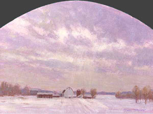 """A Break in the Clouds"" by Dan D'Amico, a landscape painting of a farm in winter."