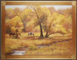 """Cottonwood Shadows"" by Dan D'Amico, a landscape painting of horses in a Rocky Mountain pasture."