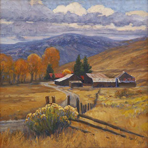 """Foothills Ranch"" by Dan D'Amico, a landscape painting of a ranch in the Rocky Mountains."