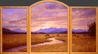 """High Country Ranch"" by Dan D'Amico, a triptych landscape painting with an archtop on the center panel, depicting a high country horse ranch in the Rocky Mountains."