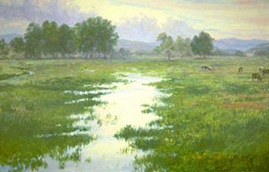 """Spring Pasture"" by Dan D'Amico, a landscape painting of a flooded pasture at the foot of the Rocky Mountains."