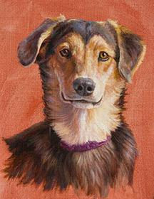 """Sammie"" by Dan D'Amico, a dog portrait painting."