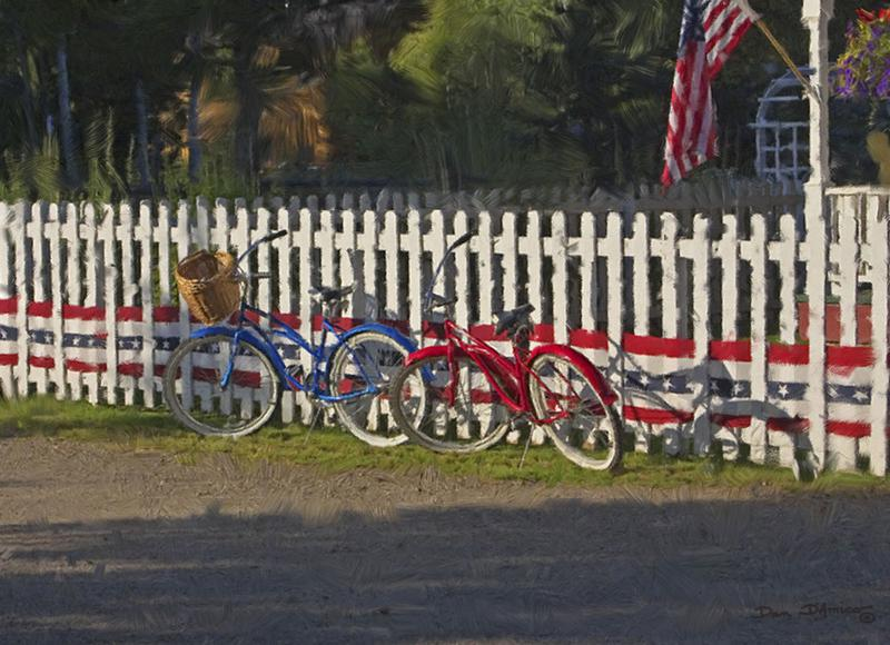"""Independence Day"" by Dan D'Amico, an Americana painting of bicycles and American flag."