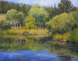 """Benjamin's Pond - Summer"" by Dan D'Amico, a plein air landscape painting."
